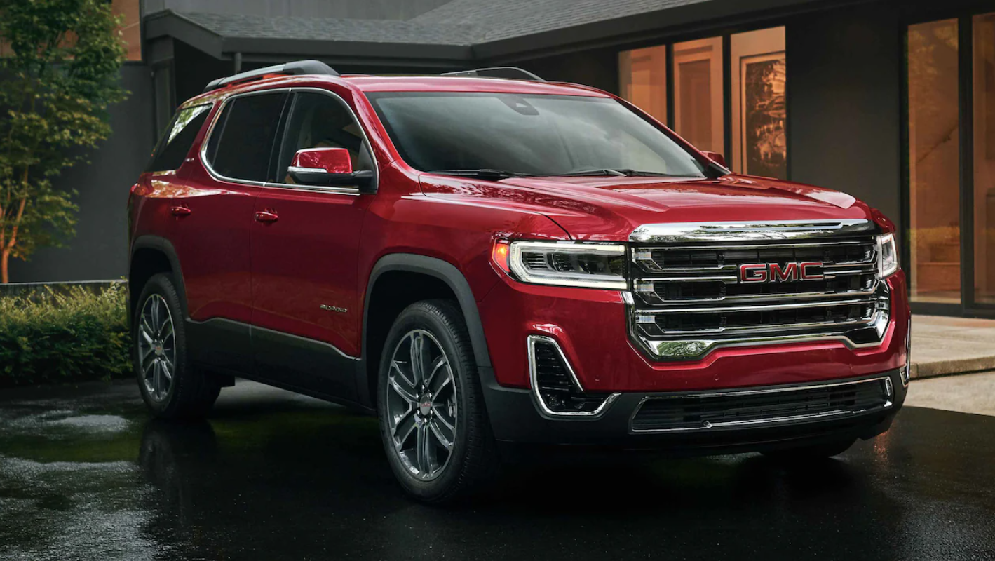 Red 2022 GMC Acadia parked