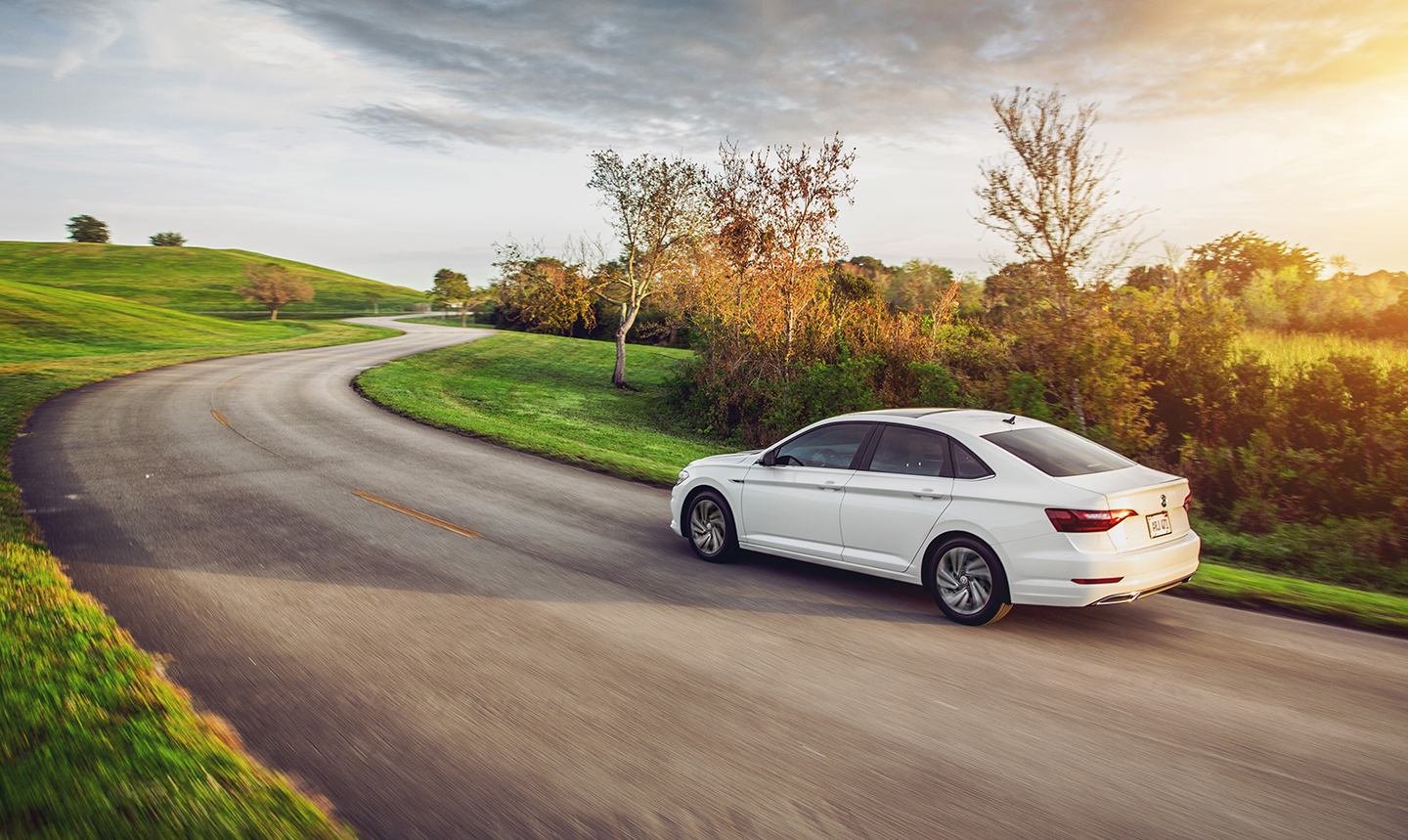 2021 VW Jetta driving on a country road
