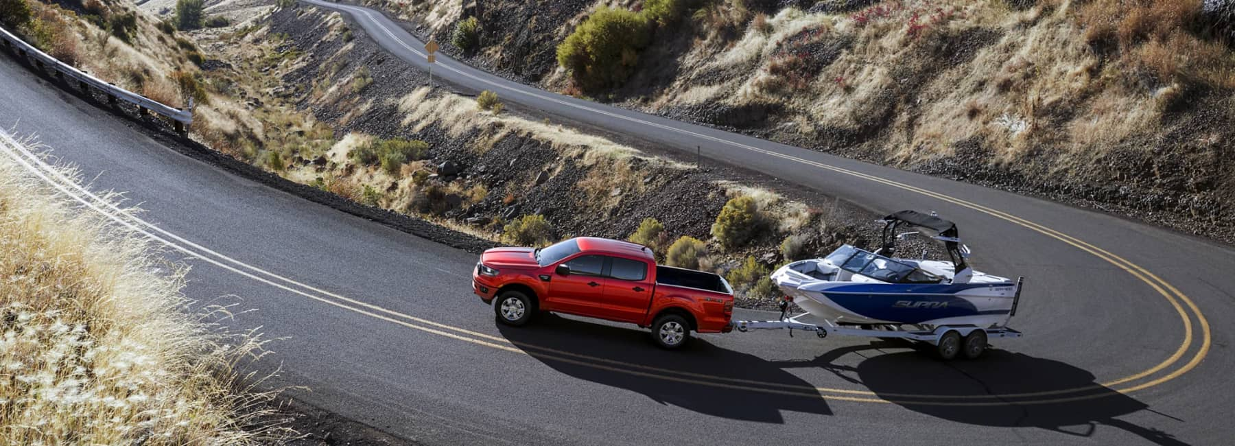 2021 Ford Ranger Towing a Boat