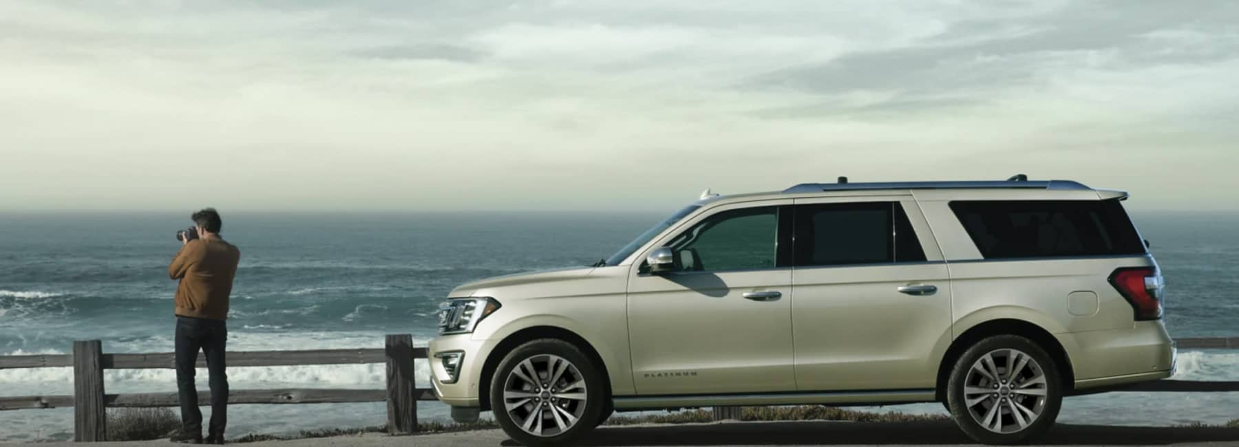 2021 Ford Expedition parked next to ocean