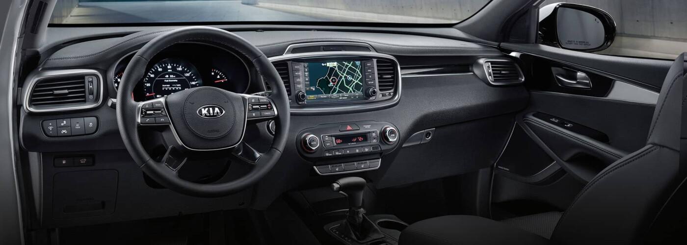Kia Sorento interior and steering wheel