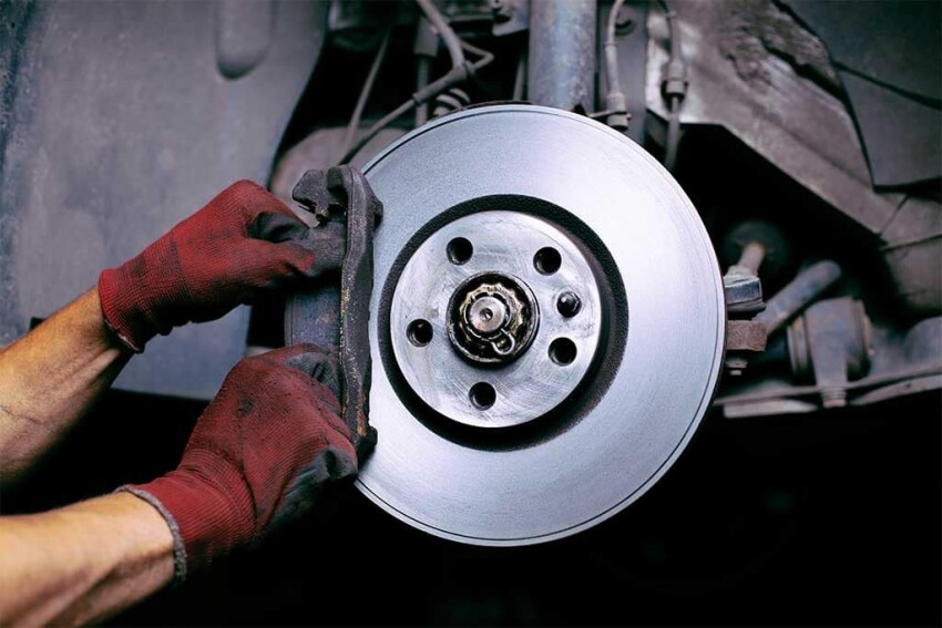 The bare brakes of a car