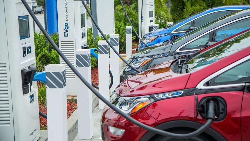 An EV charging station